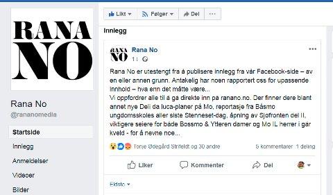 Dette var meldingen Rana No la ut tidligere i dag.