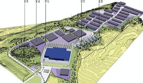 I Terrenget: Danebusåsen (t.v.) med varehuset (i blått). Resten blir kontor, industri og lager. Ill.: IK Arkitektur + Urbanisme AS