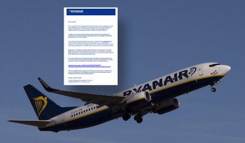 TREKKER AVGIFT: Ryanair har fått mye pepper etter at de sendte ut mail hvor de varslet passasjerer om at de kom til å trekke flyseteavgif på 80 kroner, direkte fra bankkortene som er brukt som betaling, uten samtykke. Foto: NTB Scanpix og faksimile (innfelt)