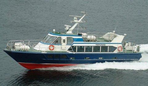 FULL FART FRAMOVER: Her er den nye båten som skal trafikkere Tønsberg-Bolærne.