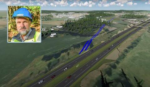 HER KOMMER TUNNELEN: Kopstadtunnelen skal bygges like under E18 nord for Kopstadkrysset i Horten. I mellomtiden får bilistene en liten omkjøring, eller justert trasé som Bane Nor kaller det.