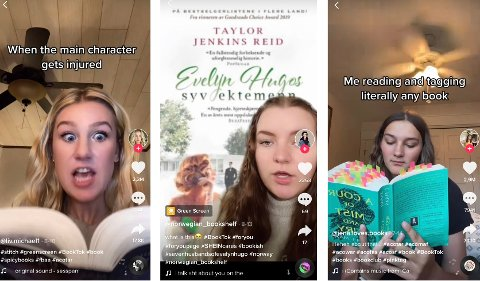 PÅVIRKERE: De nye stjernene på TikTok har satt fyr på lesegleden blant norsk ungdom. Fra venstre: @liv.michael1, @norwegian_bookshelf og @jena.loves.books.