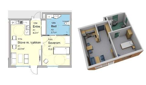 Romma: Slik ser eit av romma ut som skal møblerast med nye møblar.
