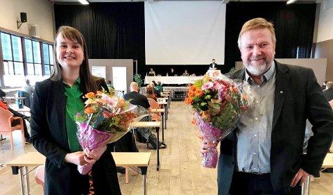 KLARE FOR NYE EVENTYR: Etter et rekordraskt nominasjonsmøte var Marit Knutsdatter Strand og Bengt Fasteraune klare for de to fremste plassene på Sp-lista