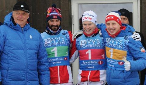 STAFETTSUKSESS: Lyn har vunnet NM-stafetten de siste åra med to nittedøler på laget. Her fra Lygna i 2017 da de hilste på Kong Harald. F.v. Hans Christer Holund, Johan Tjelle og Simen Hegstad Krüger.