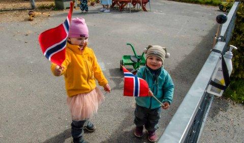 HURRA FOR 17. MAI: Tiril (4) og broren Snorre (2) i Kroer barnehage var guide for lokalavisas utsendte. Vi ble behørlig vist barnehagens lekeapparater og vært med i 17.mai-toget sammen med barna.