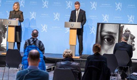 REFORM: Helse- og omsorgsminister Bent Høie og kunnskaps- og integreringsminister Guri Melby presenterer regjeringens forslag til rusreform.