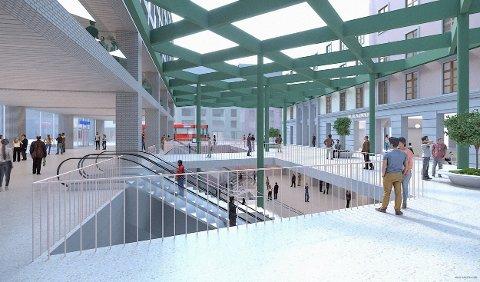 NY STASJON: Slik kan det fremtidige stasjonsområdet på Majorstuen se ut. Byrådet i Oslo ber Sporveien starte etablering av Majorsuen T-baneknutepunkt. Stasjonen blir på et plan, under overflaten, med til sammen fire spor.