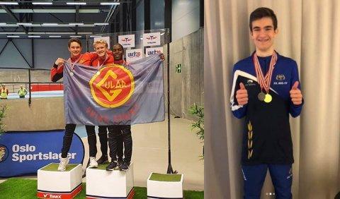 Sondre Lindaas Gjesdal (midten første bilde) og Phillip Morken tok begge to medaljar i sine distansar og klassar under Ungdomsmeistarskapen i friidrett.