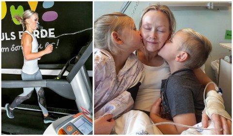 RÅSTERK: Det er ingen tvil om at Pia Kvernevik (32) er råsterk både mentalt og fysisk. Til venstre er ho avbilda når ho tek form-test på Puls Førde i juli, og til høgre er ho i lag med sine to små born på Førde Sentralsjukehus.