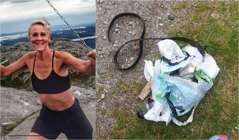 OPPGITT: Grete Bjørkedal tok saka i eigne hender då ho såg alt bosset som låg strødd på fjelltoppen. – Det er ikkje fjellet sitt boss, seier ho.