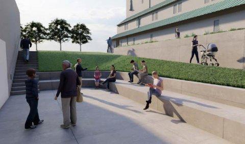 Uteområdet ønskes formet som et atrie med gulv på om lag 50 kvadratmeter og atkomst fra gateplan via trapp og rampe. Dette kan benyttes i forbindelse med aktiviteter/samlinger i regi av kirken.