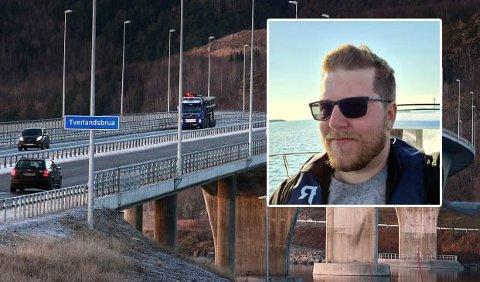 I møte med tre maskerte ungdommer fikk Leif Øivin Olsen fikk en meget ubehagelig opplevelse på Tverlandsbrua torsdag kveld, som førte til at han måtte bråbremse og stanse bilen.