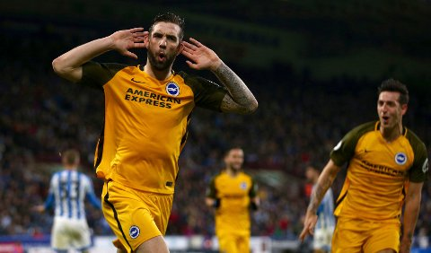 Brighton & Hove Albion's Shane Duffy celebrates scoring his side's first goal of the game during the English Premier League soccer match between Huddersfield Town and Brighton and Hove Albion at the John SmithÄôs stadium, Huddersfield England. Saturday Dec. 1, 2018.(Dave Thompson/PA via AP)
