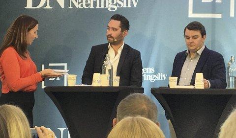 I DEBATT: Debattleder Elin Ludvgisen, Peder Sjo Slettebø og Espen Teigen.FOTO: EIVIND A PETTERSEN