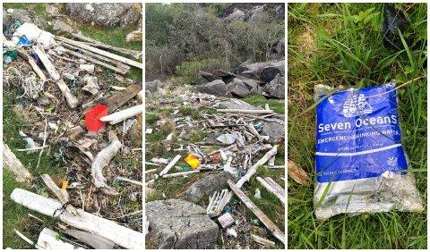 IKKE ET FINT SYN: De tre venninnene ble gaske satt ut av alt søppelet de kom over på Auglend.