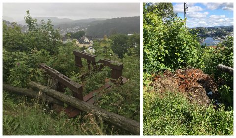 SKUFFET: En DT-leser har sendt inn disse bildene fra hærverk og søppeltømming på Varberg.