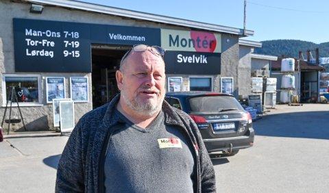 INGEN KORONA-KRISE: Byggevare- og fargehandlene holder ikke stengt for tiden, de opplever at mange kunder nå ønsker å pusse opp. Jan Werner Hansen er optimistisk, og forteller at drammensere blant annet benytter tiden til å oppgradere hyttene sine i Svelvik.