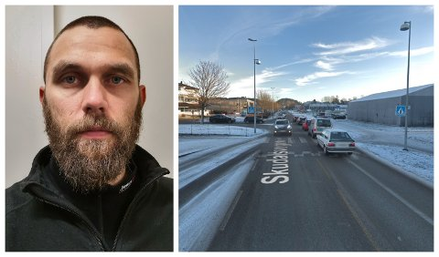 ULYKKE: Ved dette gangfeltet på Evja i Florø vart ein gut påkøyrd i 16-tida måndag 16. oktober. Espen Aldeholm Rysjedal meiner politiet burde halde fleire kontrollar ved gangfelta i Florø.  Biletet av krysset er teke november 2018.