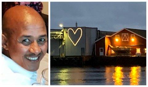 TIL MINNE: Tweelde (bildet) omkom i ei ulukke i Kalvåg måndag. På arbeidsplassen hans lyser eit hjarte for å heidre han.