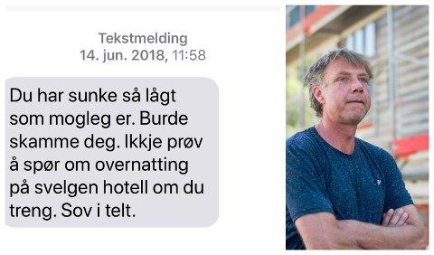 IKKJE VELKOMEN: Dagen før Morten Hagen og Vågsøy Høgre sa ja til Kinn kommune, fekk Høgre-leiaren denne tekstmeldinga frå Kinn-motstandar og hotelleigar Jostein Eimhjellen (bildet) i nabokommunen Bremanger.