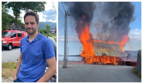 SPRANG TIL: Jørn Østensen sprang til då han såg at det kom røyk frå havneområdet i Stavang fredag morgon. - Du får ein støkk i deg når slikt skjer, seier 45-åringen.
