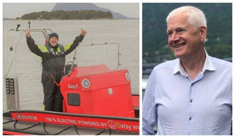JUBEL: Leif Stavøstrand og Evoy kan juble for at det nystarta selskapet Elbåtlader DA, med styreleiar Johannes Rauboti, skal etablere ladestasjon for fritidsbåtar og mindre arbeidsbåtar i Florø.