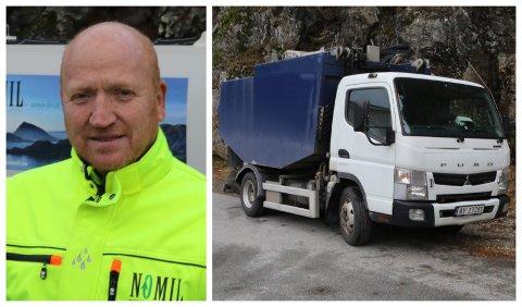 BEKLAGAR: Dette er bilen Nomil har kjøpt inn for å hente boss i øyane. Men i romjula fekk den ikkje plass på båten.  Inge Bent Arnestad i Nomil beklagar.