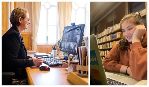 TEAMS: Her snakkar stortingspresident Trøen med ungdomspolitikar Ina Brendø og dei andre i ungdommens kommunestyre på Teams