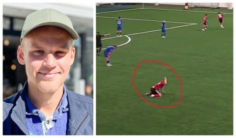UTRADISJONELL FEIRING: Håkon Giæver Gjerstad fall på kne og hamra laust på graset då Florø la på til 2-0 mot Senja. Det var mykje kjensler som måtte ut, forklarar den oppofrande midtbanespelaren.