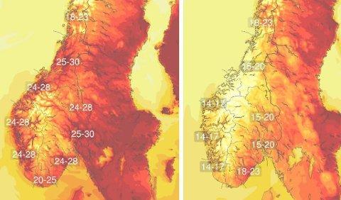 FORSKJELL: Torsdag blir veldig varm, medan fredag blir litt kjøligare.