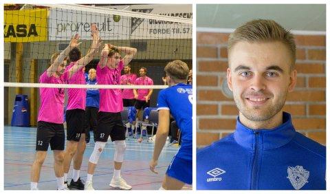 AKTIV: Jonas Vindedal Langlo (nr. 12) spelar på elitelaget til TIF Viking. Dei møtte Førde volleyballklubb søndag ettermiddag. Det vart ein dag fylt med forskjellige kjensler.