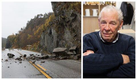 FØRST PÅ STADEN: Gilmar Kjelsnes (82) hadde nettopp køyrd barnebarnet sitt til flyplassen, då det på heimvegen rasa rett framfor bilen hans. Han varsla 113 og dirigerte trafikken til politiet kom.