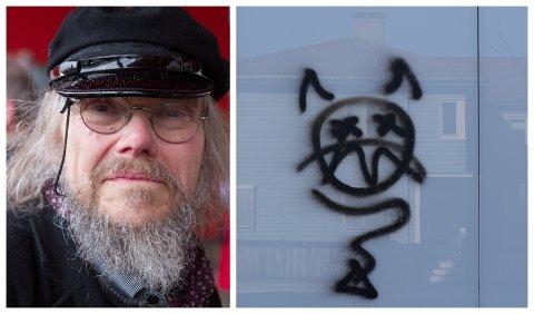 BLYG: - Ei blyg ytring, meiner utstillingskonsulent Fridtjov Urdal. Tagginga er på veggen mot Langebruvegen.