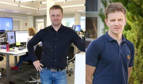 Svein Atle Huus og Aadne Gloppestad er skeptiske til om kompensasjonsordninga til mediebedriftene vil treffe der den trengst.
