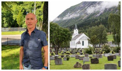IVRIGE FUGLAR: Driftsjef for kyrkjetuna på Jølster, Helge Årdal, har observert stadig fleire tilfelle av at fuglane rotar med gravlysa.