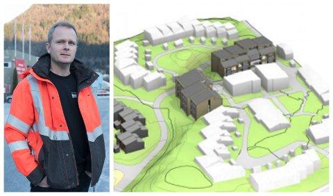 NYTT PROSJEKT: Geir Harald Kapstad i Harald Kapstad AS skal bygge dei nye studentbustadene skal ligge øvst i Vieåsen. Dei farga bygga til venstre er nye sjukehusbustader. Dei kvite bygga er eksisterande hus.