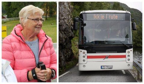 IKKJE OK: Joveig Engen er blant fleire som ikkje lenger får nytta buss-tilbodet i Guddalen. Tidlegare var det stor buss på tur og retur på skuleruta, no er det berre stor buss om morgonen. Det fører til ein del problem.