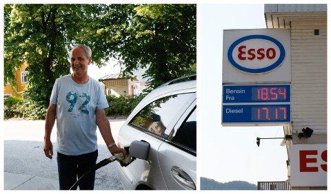 HØGE PRISAR: På Esso i Førde var det høge prisar på fredag ettermiddag. Like prisar var det på dei andre fyllestasjonane rundt omkring i Førde. Ivar Berland synst det er for dyrt, men hadde ikkje noko val, for han trengde drivstoff.