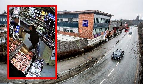 HASSINGEN: I denne Rema 1000-butikken utspant knivdramaet seg. Det innfelte bildet viser butikkmedarbeideren som verner seg mot utfallet med en pappeske.