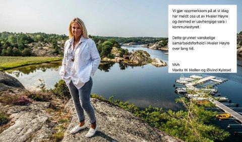 Marita Wennevold Hollen mener det er samarbeidsproblemer i  Hvaler Høyre, men ønsker ikke å kommentere enkeltpersoner.  Innfelt er e-posten hun og mannen sendte til Høyre onsdag kveld.