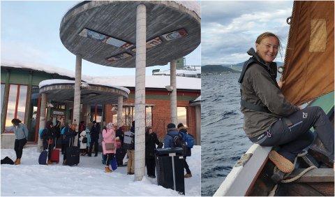 FLERE VÆRFASTE: Marit Mørtsell og familien fra Gratangen kom til Kiruna med nattog fra Stockholm søndag morgen. Siden da har de, og flere andre reisende, vært værfaste i Kiruna inntil videre.