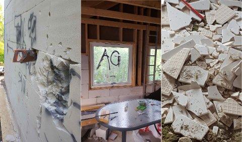 SKADEVERK: Til venstre i bildet ser man hvordan gjerningspersonene har forsøkt å komme seg inn ved å sage seg gjennom veggen på huset. På innsiden har de blant annet tagget på vinduer og knust baderomsfliser som lå på lagring.