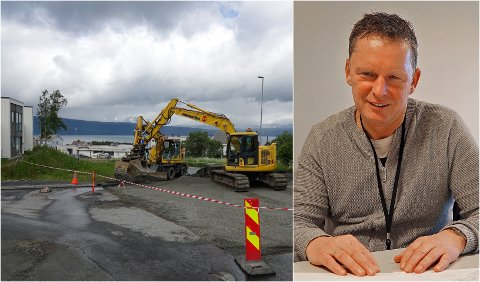 BESTRIDER: Det ble store skader på blant annet asfalt etter vannlekkasjen i Skistua i slutten av juni. Narvik kommunes erstatningskrav på totalt 1.384.833,96 kroner, er nå avvist av forsikringsselskapet. Trond Solberg, enhetsleder for veg og park i Narvik kommune, sier at de bestrider avgjørelsen.