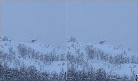 Observert: Dette helikopteret, som en Fremover-tipser oberserverte i Vassdalen lørdag formiddag, er bare en av flere helikopterobservasjoner Fremover har fått henvendelser om i løpet av helga.