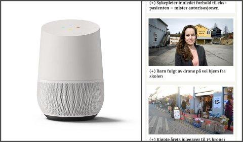 Du kan snakke med smarthøyttaleren, som skal være tilpasset norsk språk, dialekter, humor og kultur. Th.: Eksempel på nyhetsbrev