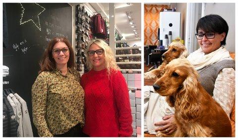 Anita Knudsen (t.v.) og Karin Vadet forteller om kunder som står med tårer i øynene på butikken i gågata på Lillehammer. - Rausheten varmer mitt hjerte, sier Kari Odlo Myrvang (t.h.).
