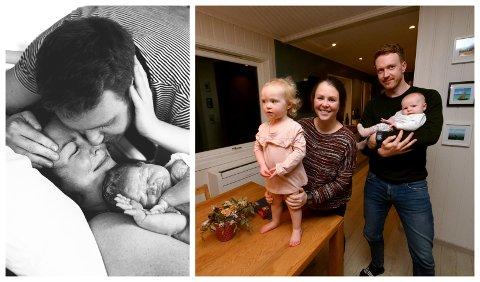 Silje Heen Kletthagen (28) og Daniel Edvardsen (29) fra Lillehammer valgte å ha med fotograf under fødselen til Olivia. Her er de sammen med eldstedatteren Cecilie (2).