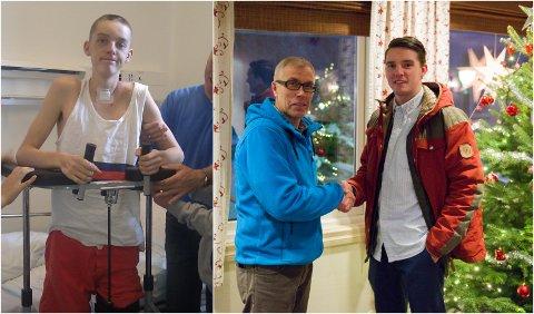 For seks år siden ble Oddgeir Haukaas Bjerke (23) stygt kvestet etter at mopeden han kjørte ble truffet av en bil på Lillehammer. Nå er han ferdigutdannet tømrer. På bildet til høyre blir han gratulert av tømrermester Øyvind Andreassen.