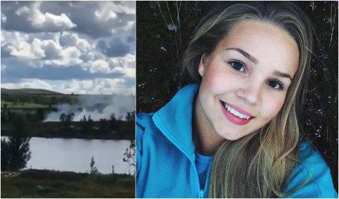 Gina Ørslien Bårdseng (21) har sommerjobb i fjelloppsynet. Etter noen uker i jobben måtte hun trå til da de kom over en skogbrann ved Revsjøen. Bildet til venstre er en skjermdump fra en kort mobilvideo som viser røyken i området.